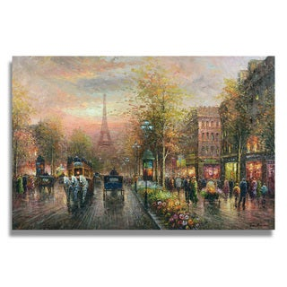 Trenton 'Paris Street Scene with the eiffel tower ' Gallery-wrapped Canvas