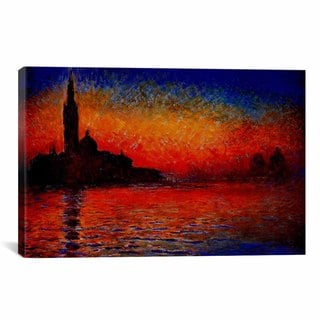 iCanvas Sunset in Venice  by Claude Monet Canvas Print Wall Art
