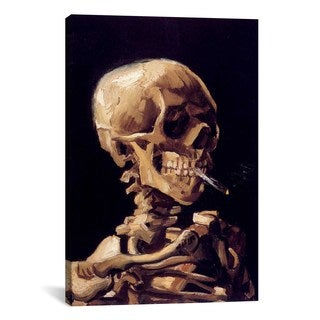iCanvas Skull With Cigarette by Vincent van Gogh Canvas Print Wall Art