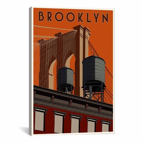 iCanvas ART Brooklyn Travel Poster Canvas Print Wall Art