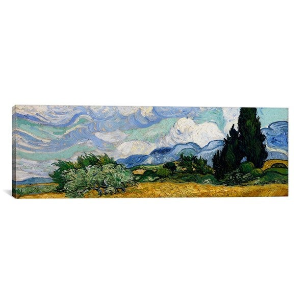 iCanvas ART Vincent van Gogh Wheatfield with Cypresses Canvas Print Wall Art