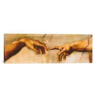 iCanvas ART Michelangelo di Lodovico Buonarroti Simoni The Creation of Adam Canvas Print Wall Art