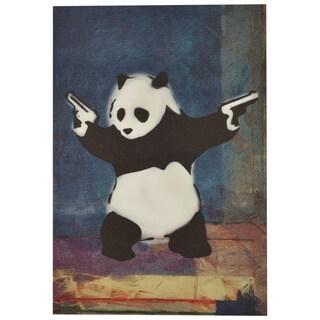 Porch & Den Banksy Panda with Guns Blue Square Canvas Print Wall Art