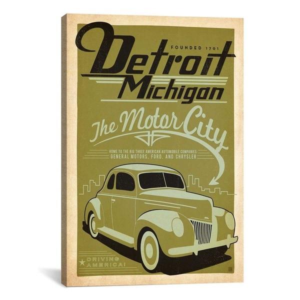 iCanvas ART Anderson Design Group The Motor City - Detroit Michigan ...