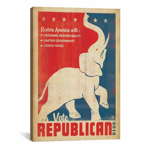 iCanvas ART Anderson Design Group Vote Republican Canvas Print Wall Art