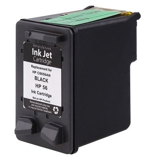Refilled Insten Black Remanufactured Ink Cartridge Replacement for HP C6656A/ 56