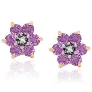Dolce Giavonna Gold-over-Sterling Silver Diamond Accent Gemstone Flower Stud Earrings in a Gift Box