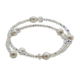 Pearls For You Sterling Silver 14-inch Freshwater Pearl and Crystal Coil Bracelet (7-7.5 mm)