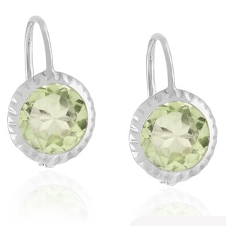 Dolce Giavonna Sterling Silver Gemstone Leverback Earrings