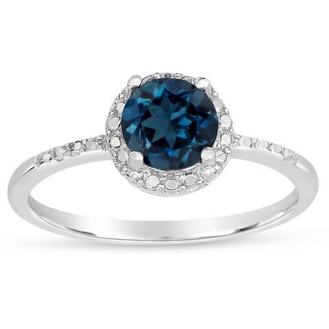 Dolce Giavonna Sterling Silver London Blue Topaz Ring