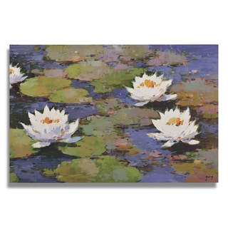 Zeng 'Water lilly flowers in lilly pond' Gallery-wrapped Canvas