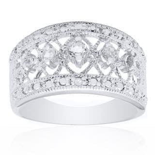 Dolce Giavonna Sterling Silver White Topaz and Diamond Accent Ring|https://ak1.ostkcdn.com/images/products/9120897/P16305005.jpg?impolicy=medium