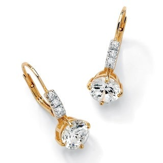 PalmBeach 3.12 TCW Round Cubic Zirconia Drop Earrings in 18k Gold over Sterling Silver Classic CZ