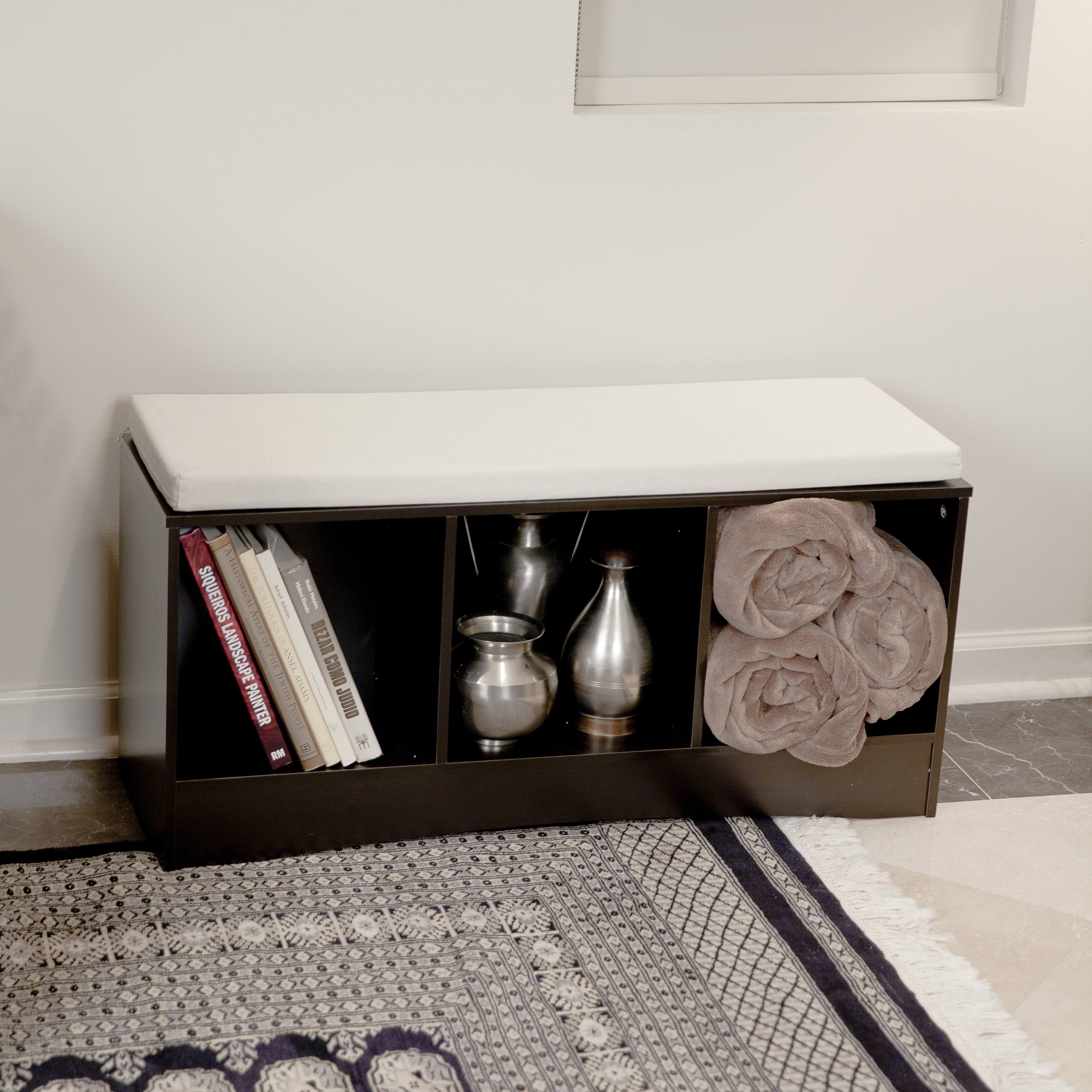 DANYA B. Storage Bench with Three Bins and Canvas Cushion...