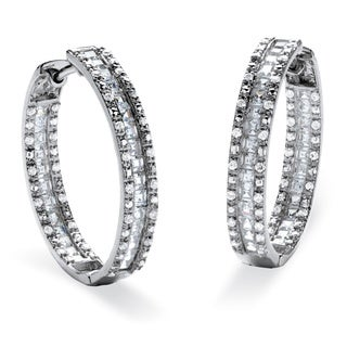 PalmBeach 3.14 TCW Princess-Cut Cubic Zirconia Inside-Out Huggie Hoop Earrings Platinum over Sterling Silver Glam CZ