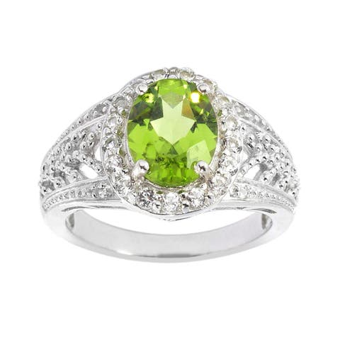 Sterling Silver Peridot and White Topaz Halo Ring