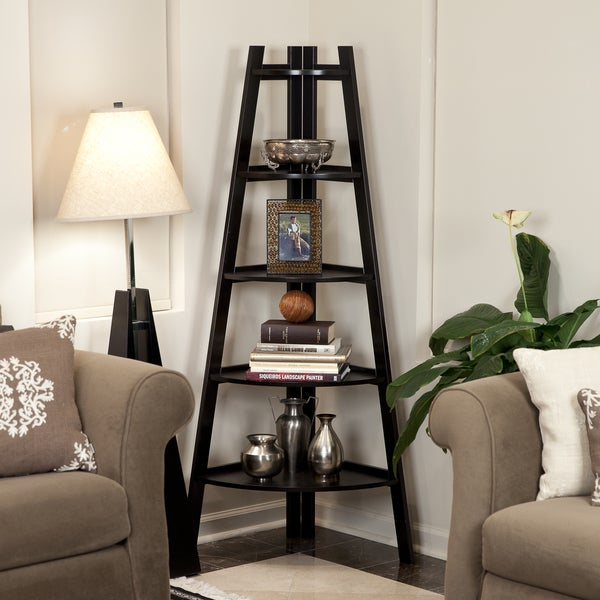 Danya B 5 Tier Espresso Corner Ladder Display Bookshelf