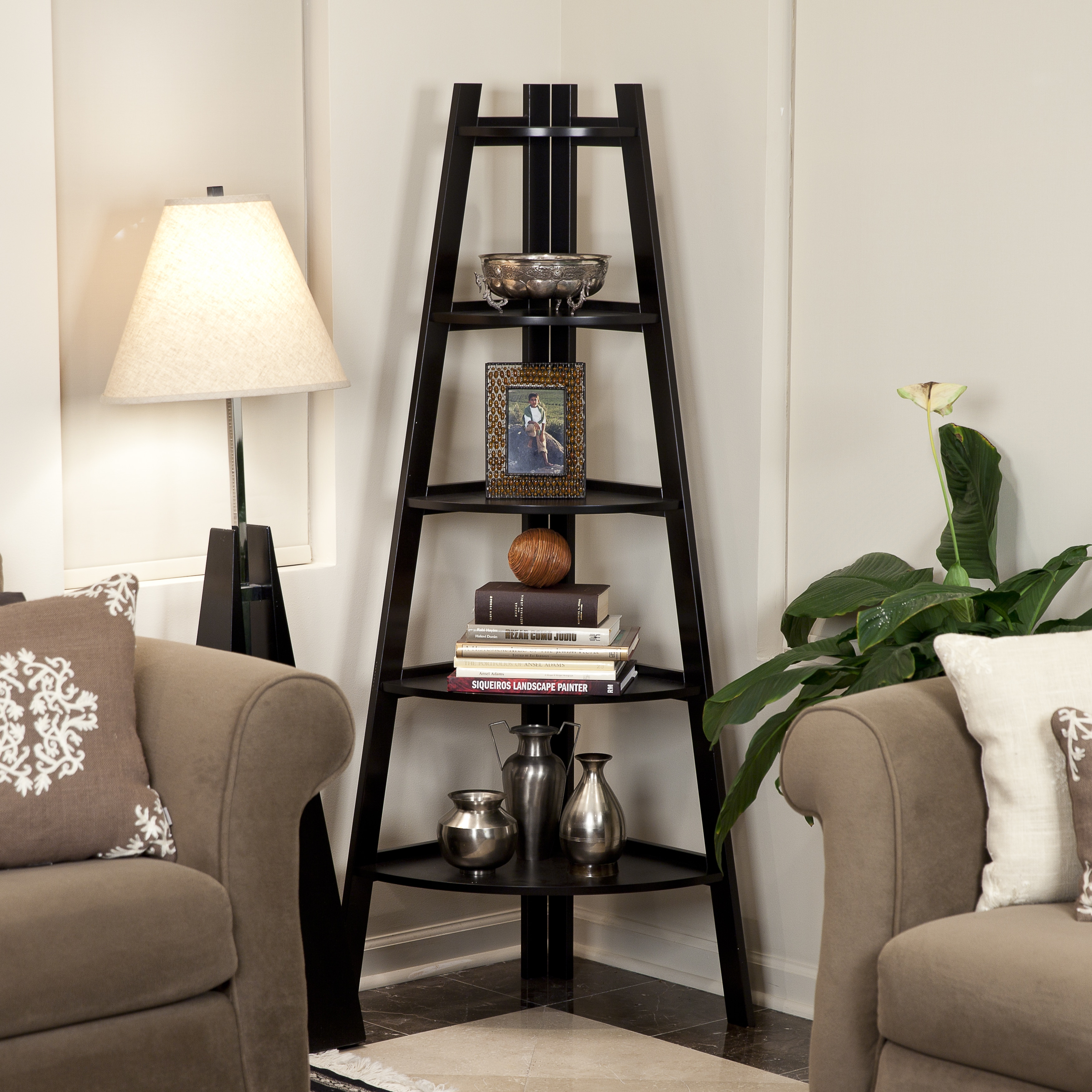 Porch Amp Den Montclair Midland 5 Tier Espresso Corner Ladder Display Bookshelf