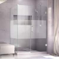 DreamLine Unidoor Plus 50 in. W x 30.375-34.375 in. D x 72 in. H Hinged Shower Enclosure, Half Frosted Glass Door