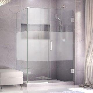 DreamLine Unidoor Plus 46 in. W x 30.375-34.375 in. D x 72 in. H Hinged Shower Enclosure, Half Frosted Glass Door