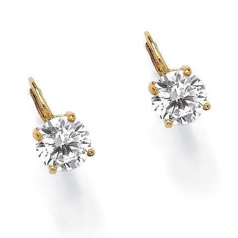 Yellow Gold-Plated Drop Earrings (13x8mm) Round Cubic Zirconia (4 cttw TDW)