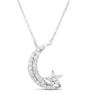 Sterling Silver Cubic Zirconia Moon and Star Necklace
