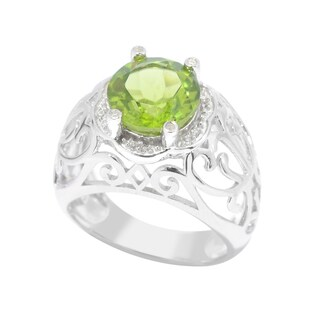 Sterling Silver Peridot and White Zircon Scrollwork Ring