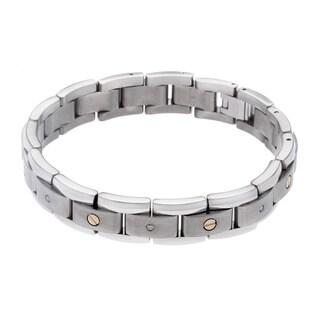 Titanium and 14k Yellow Gold 1/4ct TDW Diamond Bracelet (H-I, I2-I3)