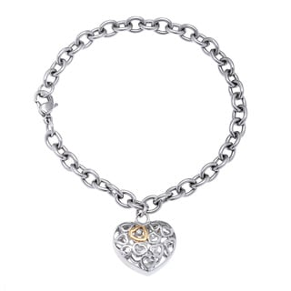 Stainless Steel Diamond Accent Puffed Heart Charm Bracelet