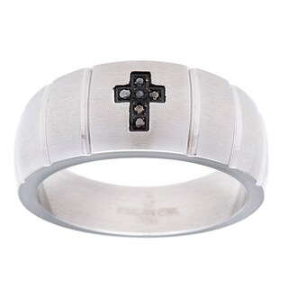 Stainless Steel Men's Black Diamond Accent Cross Ring
