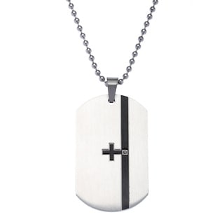 Stainless Steel 2-sided Diamond Accent Dog Tag
