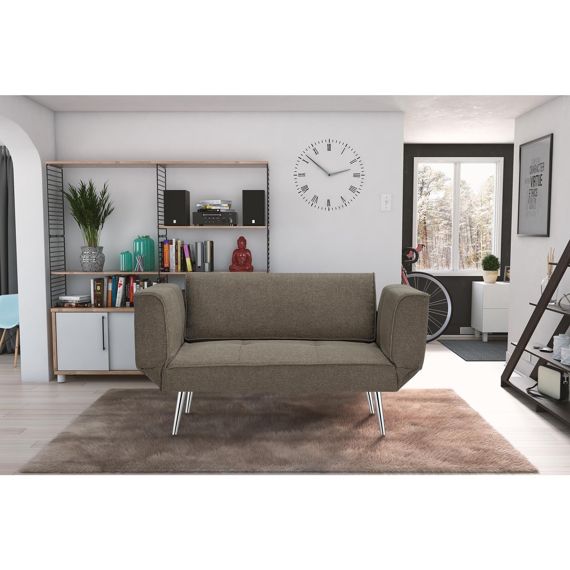 DHP Novogratz Euro Futon with Magazine Storage (Grey Twill)