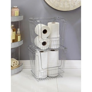 Shallow Tall Chrome Stackable Storage Basket