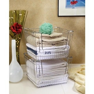 X-large Chrome Stackable Storage Basket
