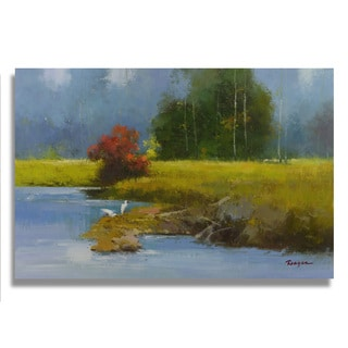 Berlinda '2 white egrets by creek bank' Gallery-wrapped Canvas