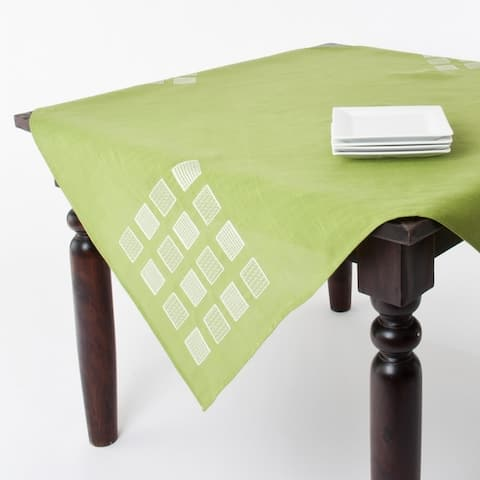 Embroidered Square Design Table Linens or Table Runner