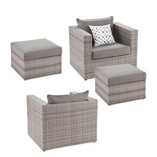 Harper Blvd Brixton Outdoor Wicker Chair and Ottoman 4pc Set