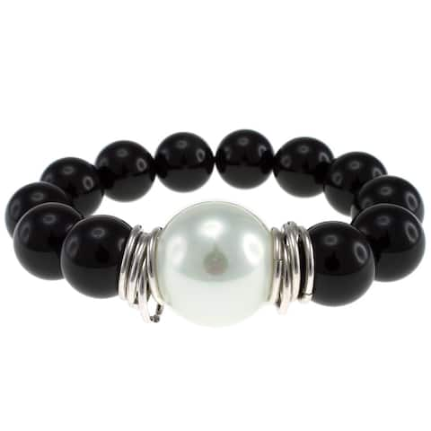 Pearlz Ocean Black Agate and White Shell Stretch Bracelet