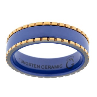 Blue Ceramic Yellow Ion-plated Tungsten Edge Detail Ring
