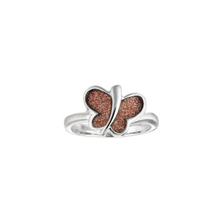 Silver Rhodium-plated Brass Pink Glitter Butterfly Ring
