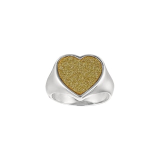 Silver Rhodium-plated Brass Gold Glitter Heart Ring