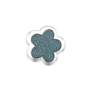 Silver Rhodium-plated Brass Blue Glitter Flower Ring