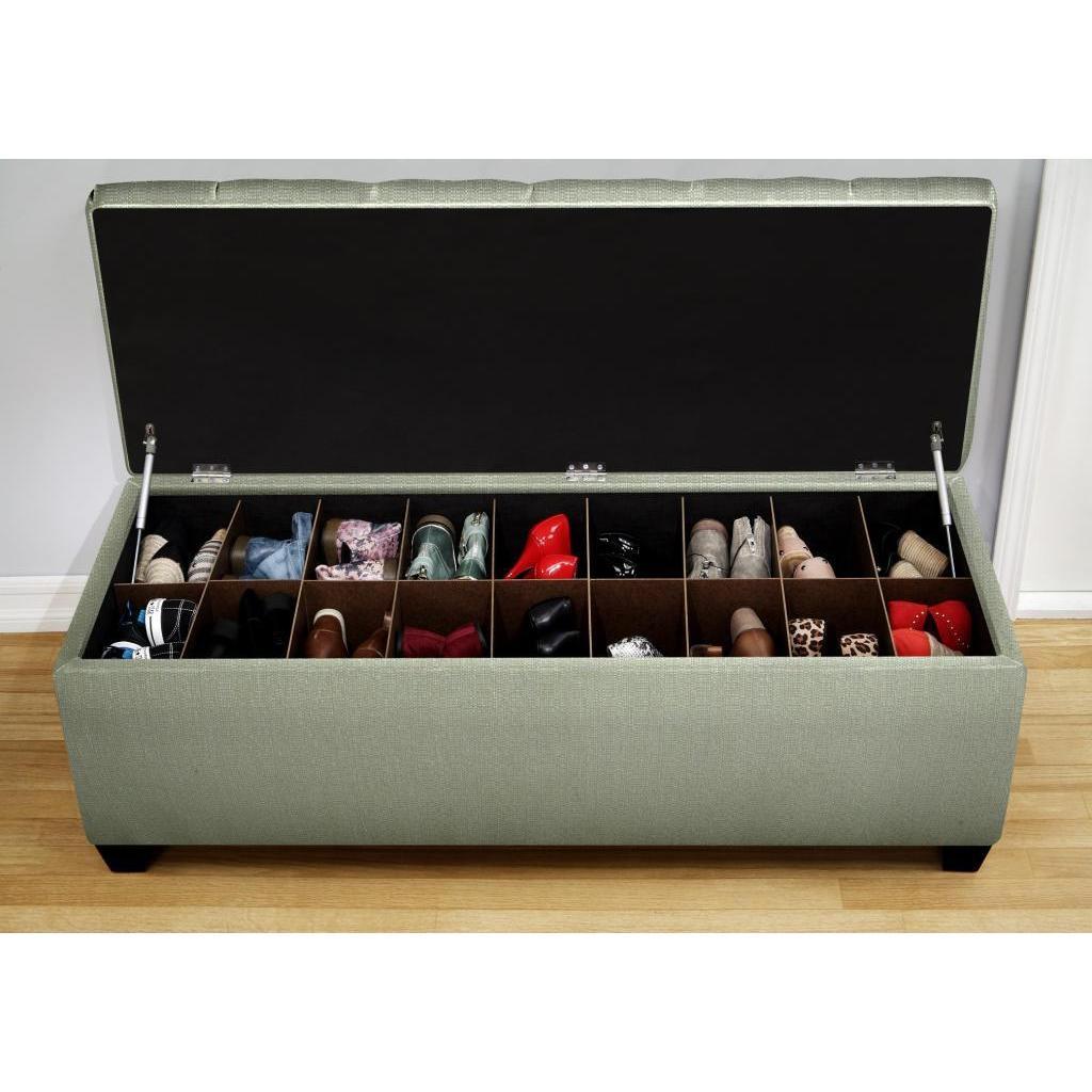The Sole Secret Shoe Storage Bench Candice Seafoam On Sale Overstock 9121752
