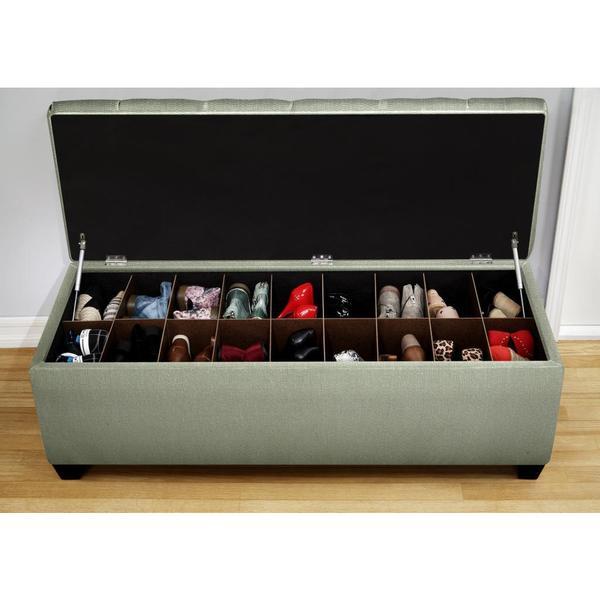 The Sole Secret Shoe Storage Bench - Candice Seafoam