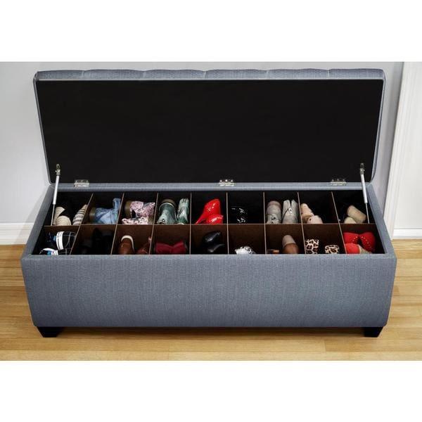 Shop The Sole Secret Shoe Storage Bench Candice Bay Blue Overstock 9121873