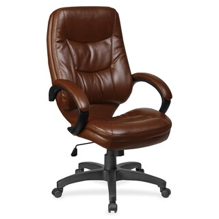 Lorell Westlake Brown Leather High-back Executive Chair
