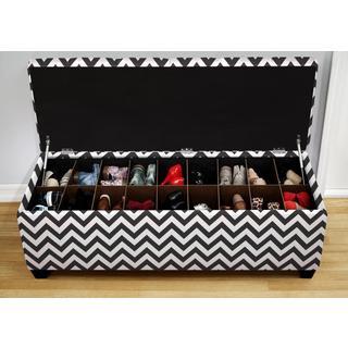 The Sole Secret Shoe Storage Bench - Zig Zag Black and White