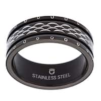 Black-plated Stainless Steel Scalloped Ring