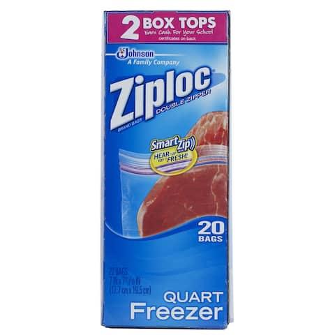 7 in. Quart Plastic Freezer Bags 20-bags