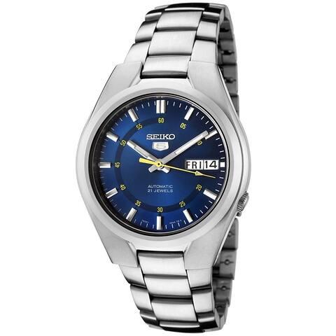 Seiko Men's 5 Silvertone/ Blue Automatic Watch